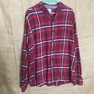 Lucky Brand XL Flannel Shirt Men's Fall Plaid Red
